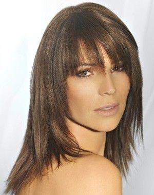 coupe cheveux mi long dégradé avec frange coté Recherche