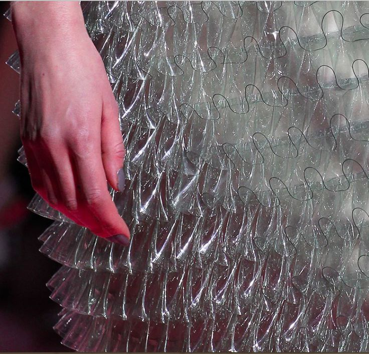 Transparent plastic sheet flounces at Mary Katrantzou, Fall 2015 collection…