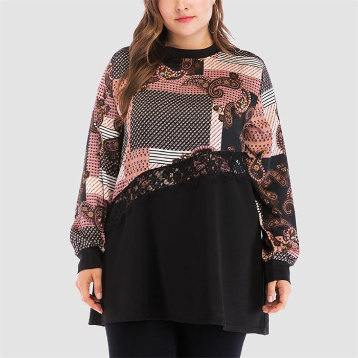 Plus-size fashion loose print long sleeve splicing T-shirt