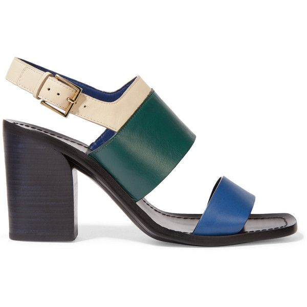Tory Burch Essex color-block leather sandals ($125) ❤ liked on Polyvore featuring shoes, sandals, teal, teal shoes, high heel shoes, sling back shoes, teal sandals and leather high heel sandals