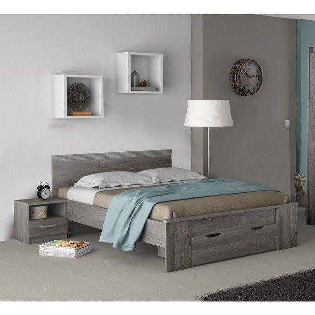 Lit tiroir en bois imitation chãªne prata 140x190 lt127 bois naturel Terre De Nuit   La Redoute