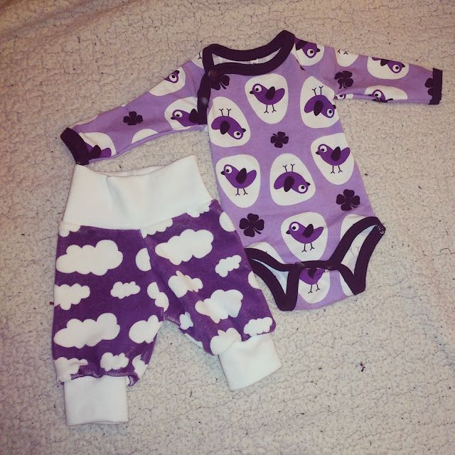 Baby sweat pants - body - birds - clouds - purple