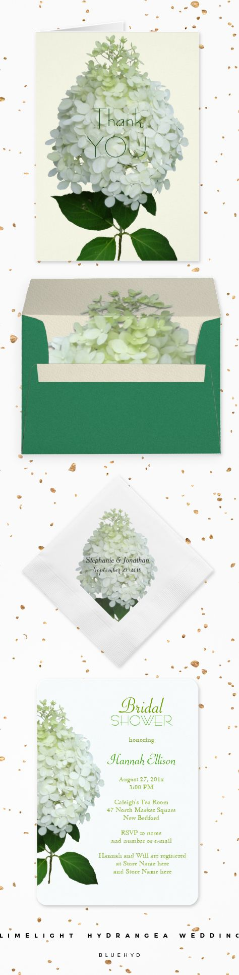 White Floral Limelight Hydrangea Wedding - Big white flowers with a tint of green, printed on paper with templates.  #bridalshower invites, custom napkins, green envelopes and thank-you cards.  View this set, and make requests for whatever you need.  BlueHyd.com #bigflowers #whitewedding #greenwedding
