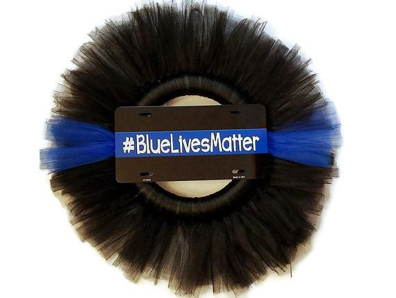 "Blue Lives Matter Tulle Wreath (Police Support) 23"", Man Cave, Birthday Gift, Thin Blue Line , Police Station  $40"