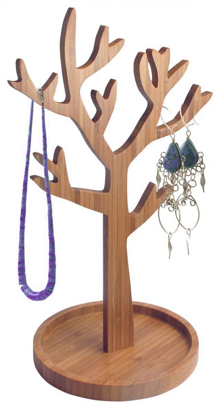 Porte-bijoux arbre en bois. Dimensions: long.18 cm, diam.15 cm.