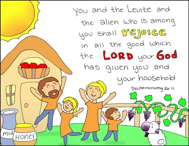 "Doodle Through The Bible: A free coloring page is available at the website :)  Deuteronomy 26:11, "". . . Rejoice in all the good ..."