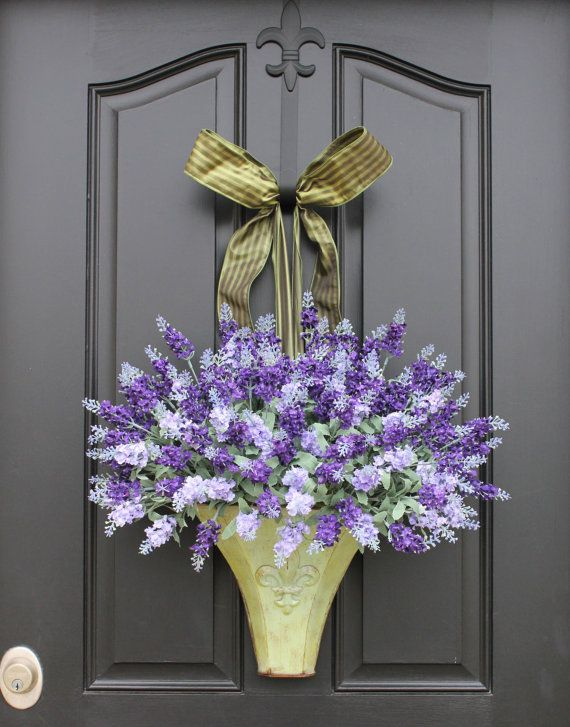 Wreath sale black friday lavender wreaths lavender fields Spring flower arrangements for front door