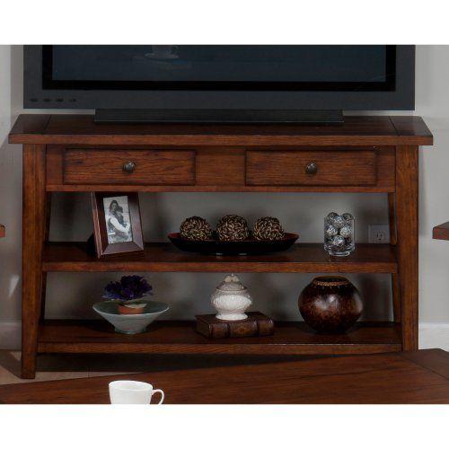 Jofran Clay County Sofa/Media Table - Medium Oak - TV Stands at Hayneedle