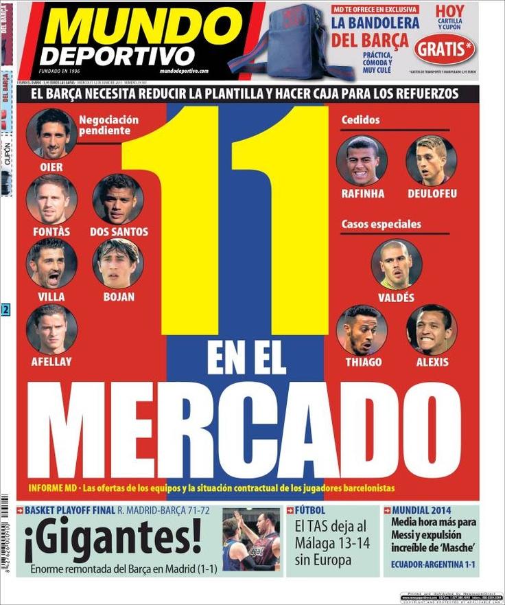Los Titulares y Portadas de Noticias Destacadas Españolas del 12 de Junio de 2013 del Diario Mundo Deportivo ¿Que le parecio esta Portada de este Diario Español?