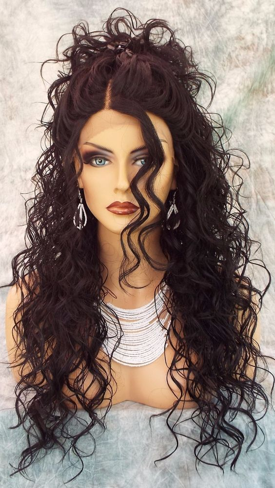 SWISS LACE FRONT DEEP LACE PART LONG CURLY HEAT FRIENDLY WIG COLOR 1B  SEXY 318 | Health & Beauty, Hair Care & Styling, Hair Extensions & Wigs | eBay!