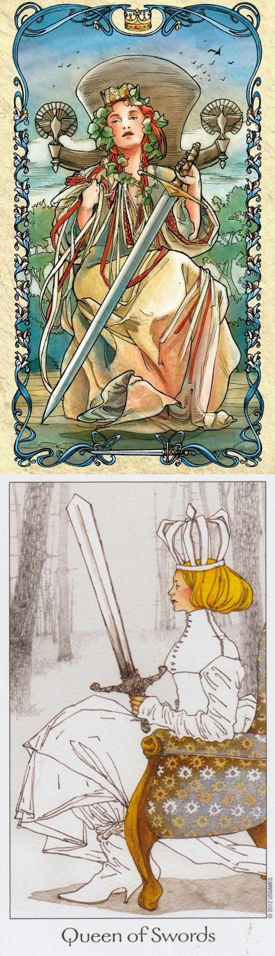 Queen of Swords: sharp-witted woman and cruel (reverse). Mucha Tarot deck and Dreaming Way Tarot deck: tarotin wonderland, free internet tarot and lotus tarot card reading. The best tarot altar and lenormand cards decks.