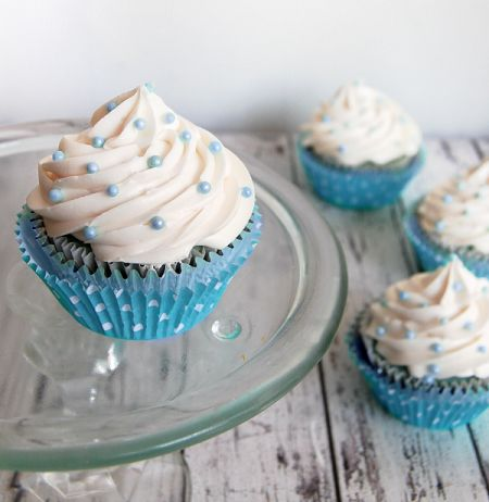 It's A Boy! Blue and white themed cupcakes for baby shower