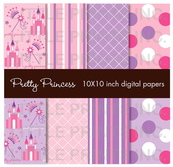 Pretty Princess Castle Digital Paper Pack by LittlePrintsParties. $5.00, via Etsy.