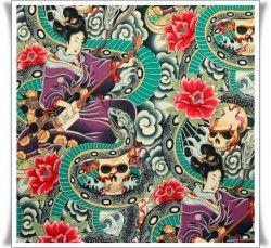 Geishas y calaveras, tela con serpientes tattoo.