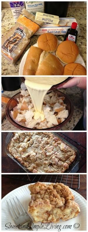 French Toast Casserole - This is more or less a basic bread pudding but with the addition of a crumb topping. Sounds good though! :D by neva