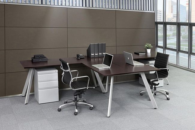 Modern T Shape Desk For Two People Silver V Legs And White