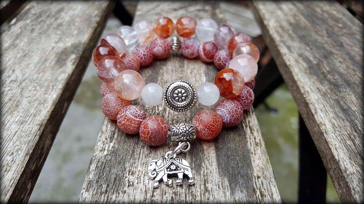 Set of 2 gemstone bracelets from Stones and Feathers Art. Agate and quartz with elephant charm. Bohemian gypsy soul Boho chic handmade jewelry unique design Ireland Dublin