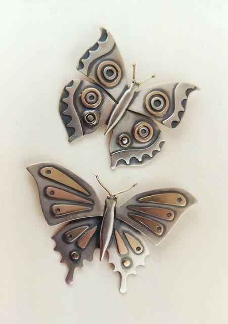 "Brooch/Pendant | Ahlene Welsh. ""Butterflies"". Sterling silver and 14k gold"