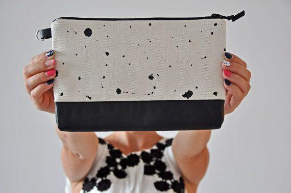 Baumwolle-Handtasche, schwarz und weiß-Kupplung, Leder Handtasche