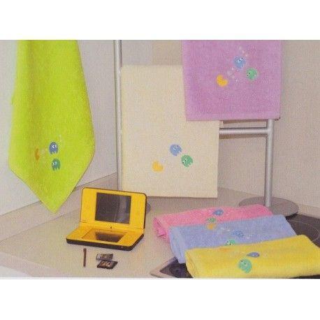 Paño de cocina Comecocos. Paños de cocina Comecocos de Trovador. Diseño bordados con un salero. Tejido composición 100 % algodón. Colores: Crudo, Verde, Lila, Rosa, Azul y Amarillo
