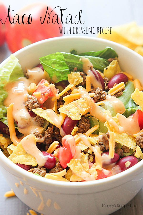 This Taco Salad is a great easy meal in the middle of holiday crazy town. Take a break from party treats and meals to make this simple meal. The homemade dressing sets it apart from the rest!