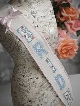 This hen party 'bride' fabric sash is so cute! What a great memento from your fab celebrations!