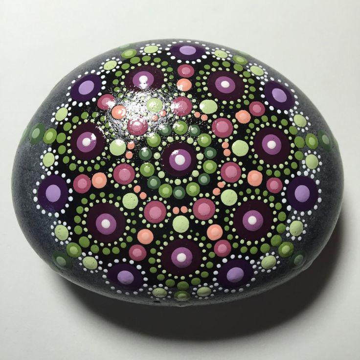 Hand Painted Mandala Stone, Mandala Mediation Stone, Dot Art Stone, Healing…
