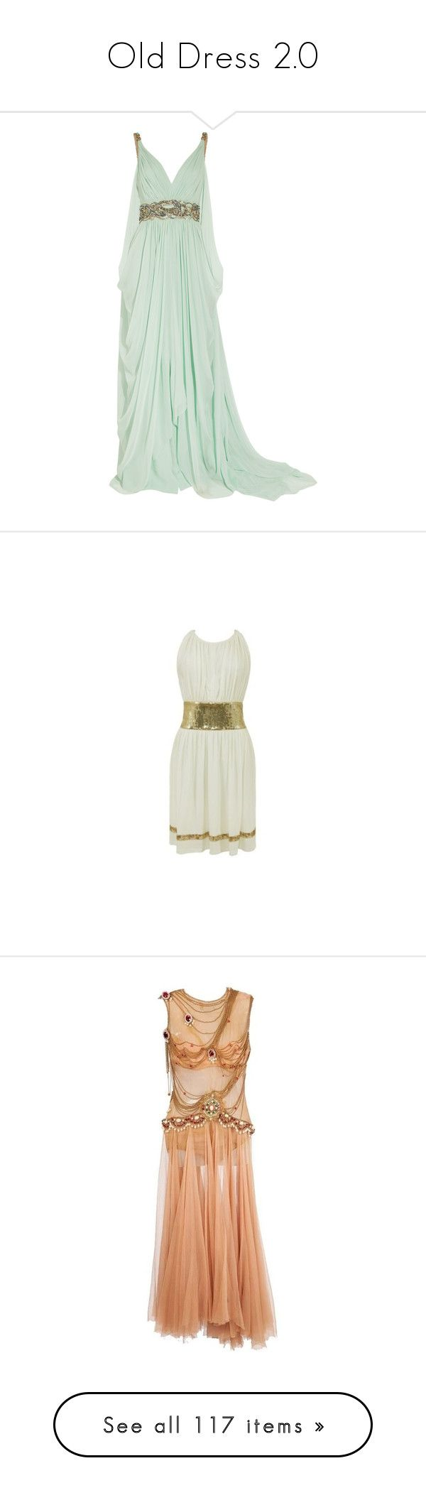 """""""Old Dress 2.0"""" by kerstinxx ❤ liked on Polyvore featuring dresses, gowns, vestidos, long dresses, mint, embroidered gown, green ball gown, green dress, mint green gown and short green dress"""