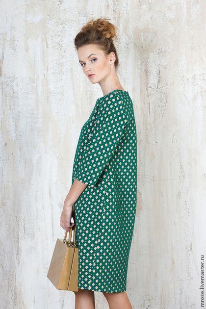 """Платья ручной работы. Ярмарка Мастеров - ручная работа. Купить Платье """"Леди Ди"""" ромб. Handmade. Зеленый, кокон, миди"""