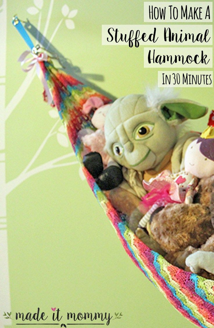 Easy DIY cute stuffed animal hammock idea to save space and organize your nursery or child's room.