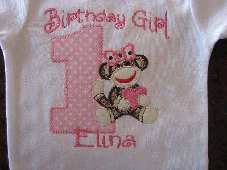 Birthday Girl First Birthday Sock Monkey Onesie or T-Shirt Girls Pink. $20.00, via Etsy.