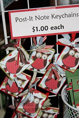Many fall/Christmas craft fair ideas: Crafts Fair, Note Keychains, Posts It Note, Fair Ideas, Crafts Ideas, Fall Christmas Crafts, Gifts Ideas, Bazaars Round Up, Crafts Bazaars