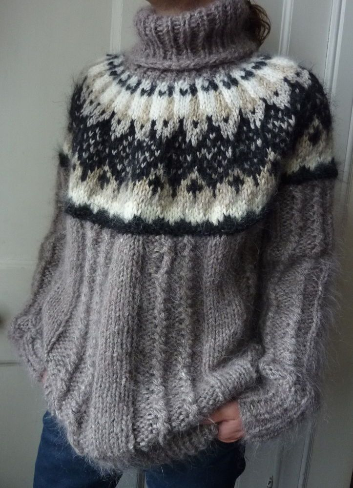 Hand-knitted chunky cable Icelandic mohair sweater unisex fawn unisex XL new in Clothes, Shoes & Accessories, Men's Clothing, Jumpers & Cardigans   eBay