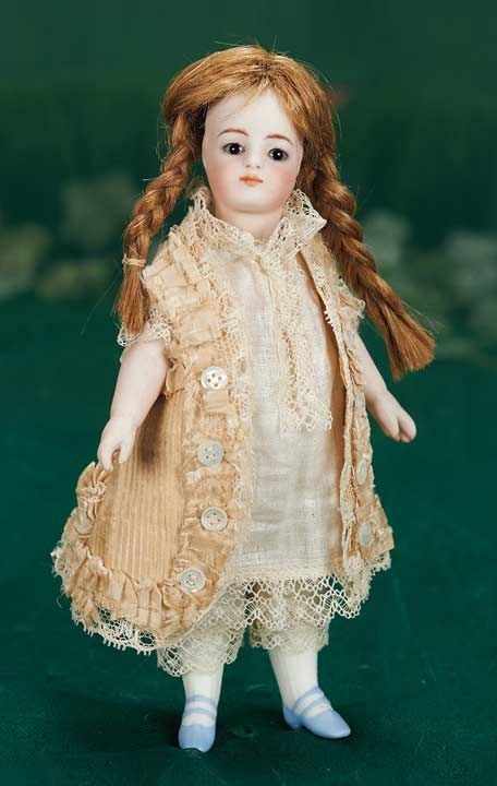 """View Catalog Item - Theriault's Antique Doll Auctions - wonderful french all bisque with original costume, 7.5"""""""