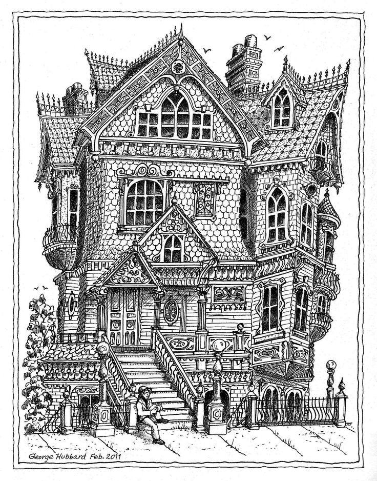 building coloring pages for adults - photo#7