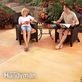 Staining a patio:  Family Handyman magazine says you can stain & seal your patio for less than $1 per sq ft in a weekend... but you'll have to reseal it every 1 - 3 years & eventually restain it.