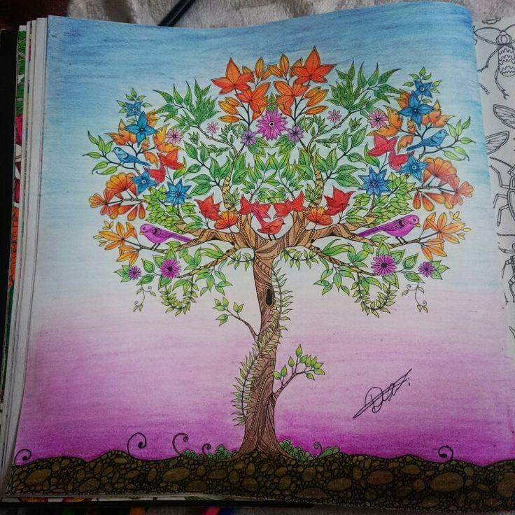 Johanna Basford Secret Garden Esrarengiz bahçe boyama kitabı ağaç. Monami 36 lı boya.