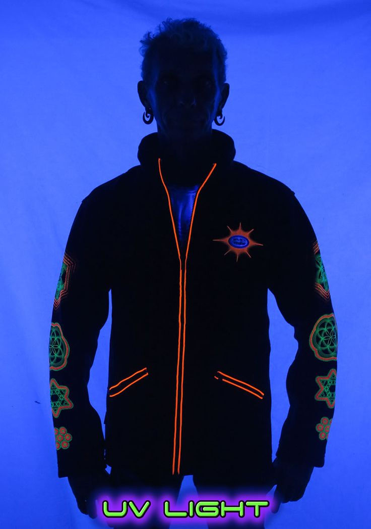 Morph Jacket (No Hood) : Sacred Fire Versatile zip-up fleece jacket. Sacred Fire print on the back & sleeves. Reflective logo badge and UV print on the chest UV piping. 2 Outside zip pockets & 2 inside zip pockets. There is a hidden zip built into the collar, which allows you to attatch either the round hood or pixie hood. (available as optional extras) Secret stash pocket label ! Made from our super juicy durable fleece (Cotton/poly mix) Artwork by Hakan Hisim