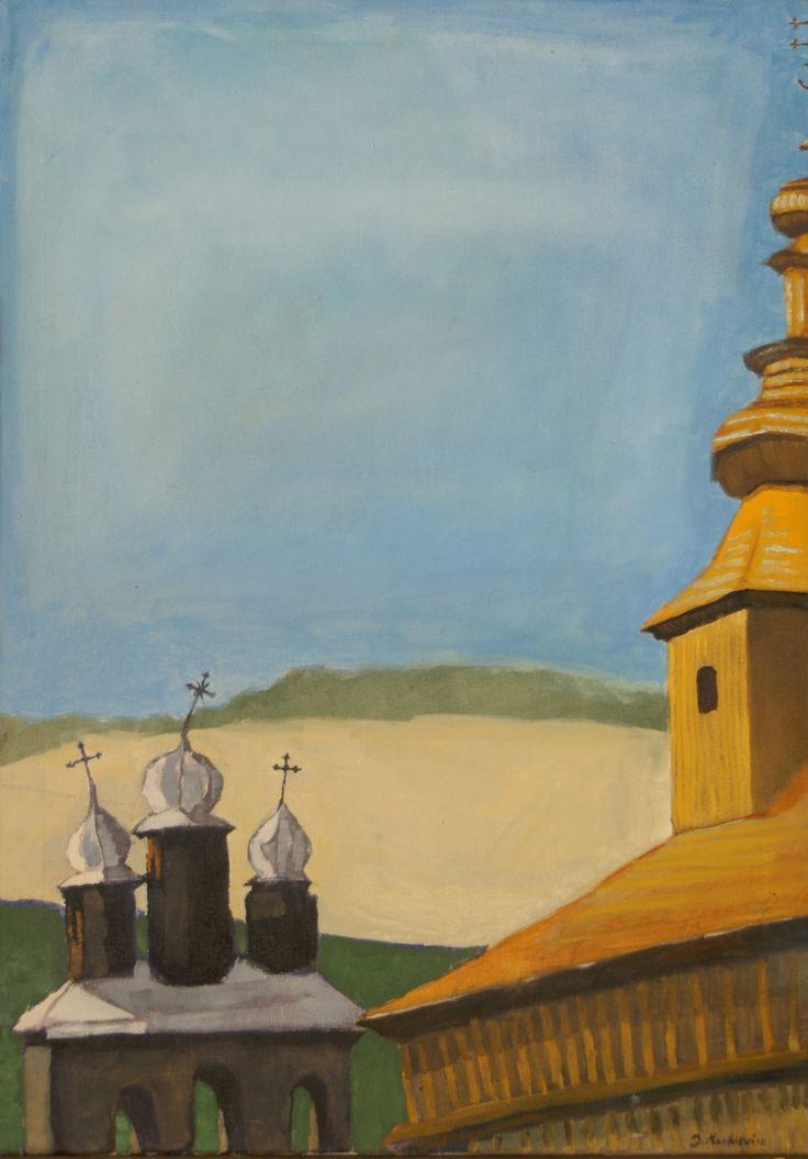 Cerkiew, Jan Markiewicz, olej na płótnie, 50 x 70 cm, 2015