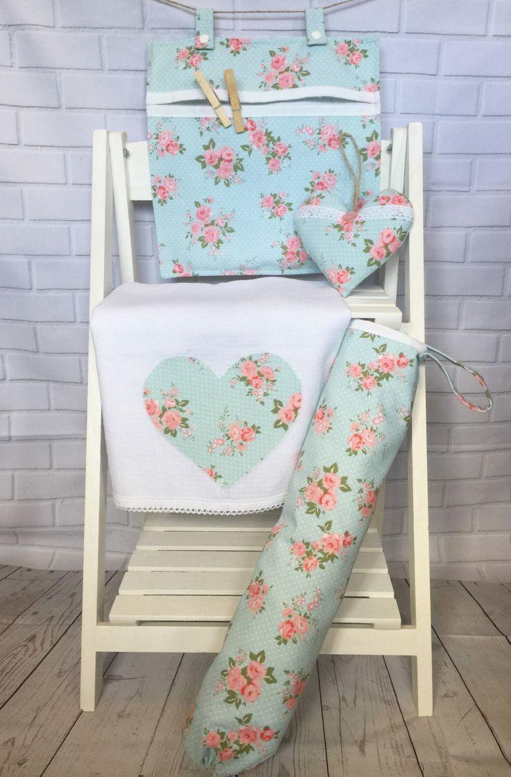 Kitchen Set - Peg Bag, Carrier Bag Holder, Tea Towel & Hanging Heart…