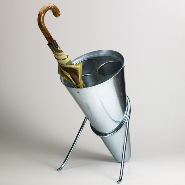Ettore Sottsass; Anodized Aluminum Umbrella Stand for Rinovel, 1950s.