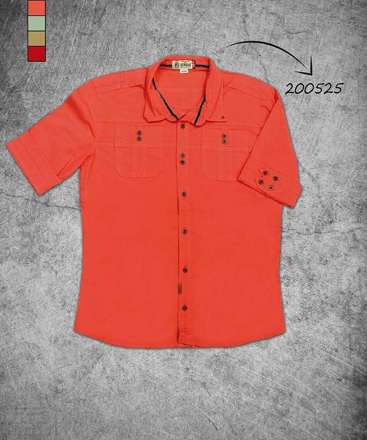 camisa-hombre-manga-tres-cuartos-color naranja-shirt-three-quarter-sleeves-orange-color-200525