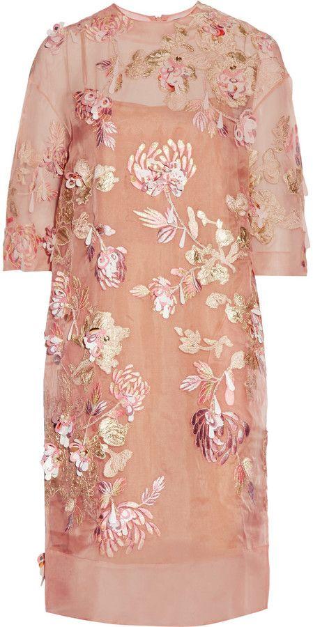 Biyan Ava embellished silk-blend organza dress