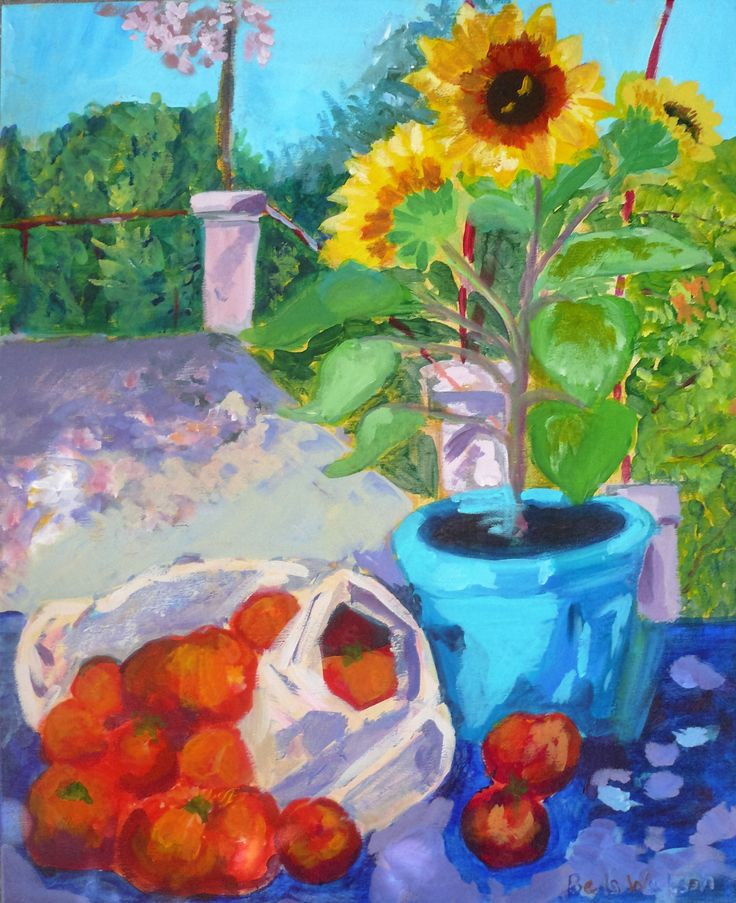 Tomatoes and sun flowers at the Metaxart veranda, Annabel Watson