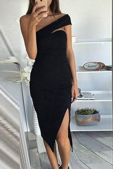 8cd211ea61 Compre Vestido Midi Um Ombro Só Com Fenda - Preto Rosa ...