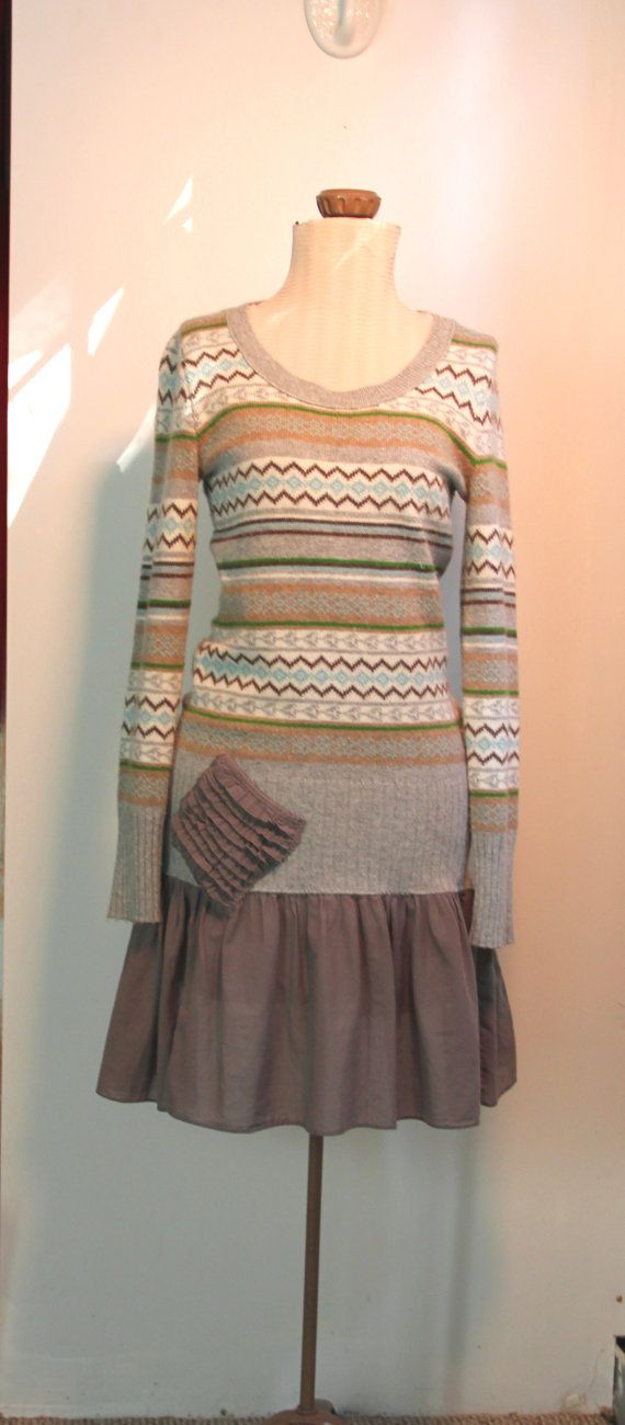 Refashioned sweater dress, Eco upcycled tattered clothing.  Just add a ruffle of fabric to a long sweater-instant dress. CUTE!