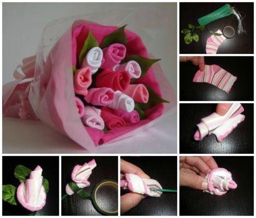 Un Ramo de Calcetines Para un Baby Shower - ¡Me encanta!  A bouquet of socks for as a baby shower gift - I love this!