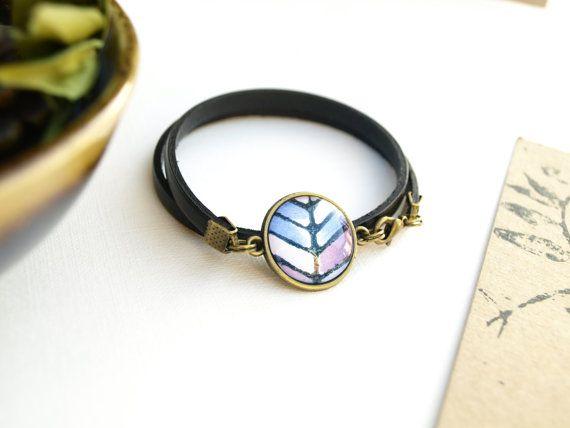 Bracelet bleu pour femme bracelet en cuir  par Bouclelacreations