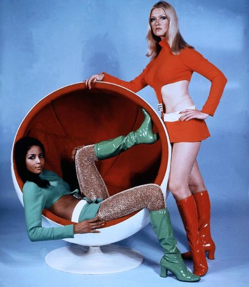 Space Age Girls 1960s in go go boots crop tops mini skirts mod vintage fashion style red white green tights short hot pants egg chair