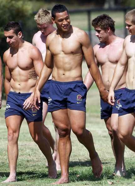 physical training...Israel Folau & his teammates